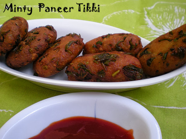Mint Flavoured Paneer Tikki Recipe