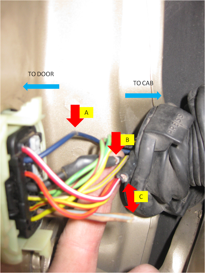 1999 2004 wj driver door boot wiring fix diy jeepforum com my three problem areas are shown as a b c in figure 1 a was a new weak area in the blue wire b was a previously repaired ground wire that was