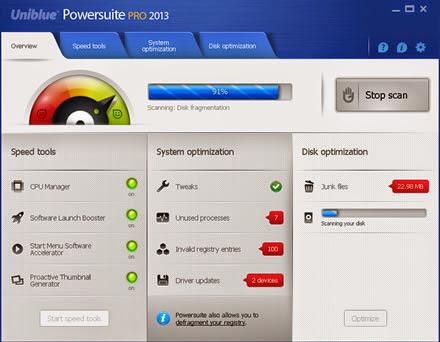 Uniblue PowerSuite Pro 2013 4.1.7.0 [Multi] - Asegura, optimiza y estabiliza tu sistema