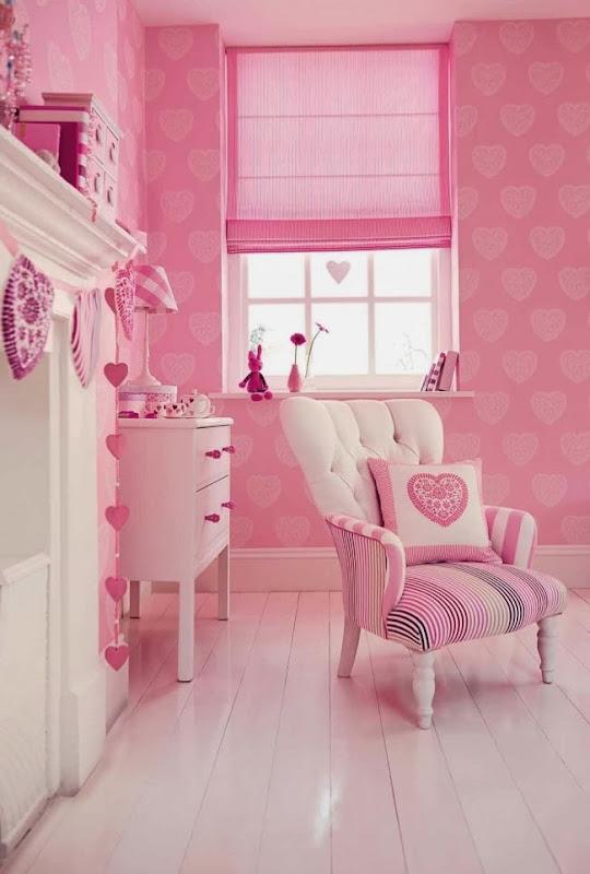 Tienda online telas papel papel pintado con corazones - Dormitorios decorados con papel pintado ...