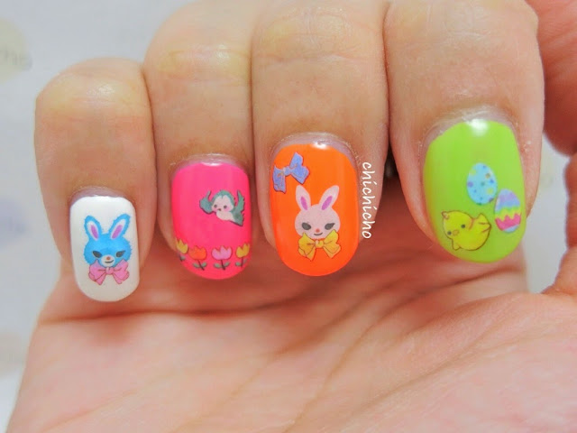 Happy Easter Water Decal Nail Art