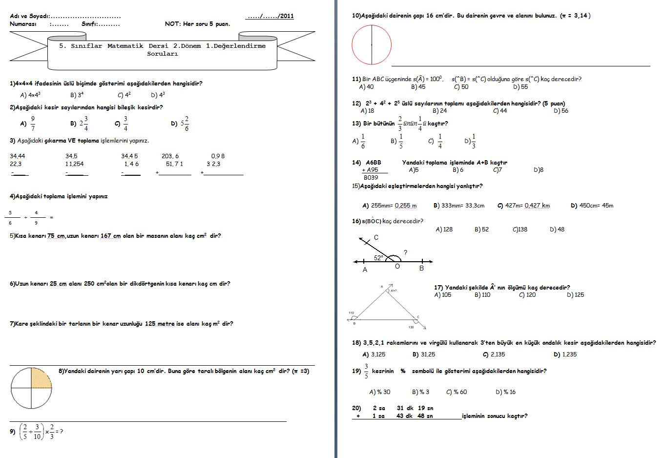 Sınıf matematik 2 dönem 1 yazılı 5