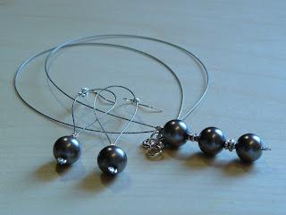 biżuteria z półfabrykatów - prostota szarości (komplet)