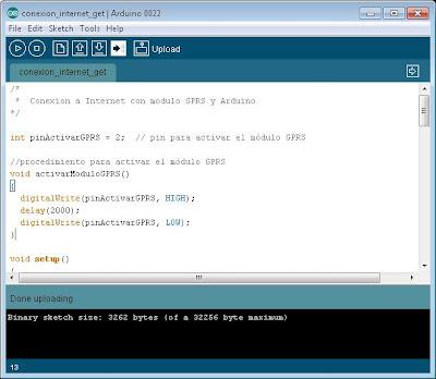 Programar Arduino UNO para realizar una conexión a Internet con el módulo GPRS