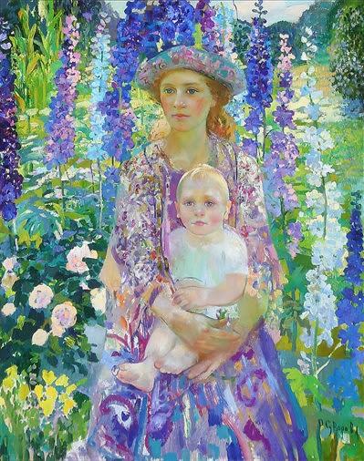 Hot western mother and kids Vincent Van Gogh prints rep