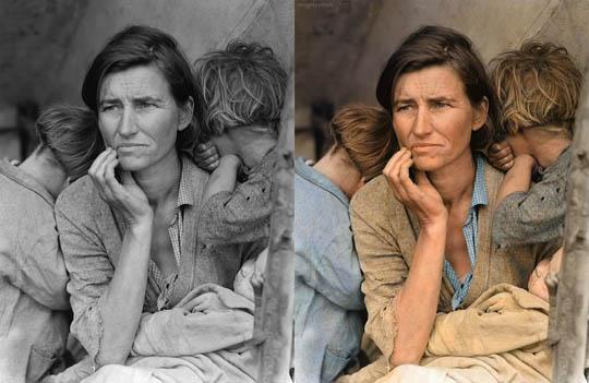 Migrant Mother - Най-известните исторически черно-бели фотографии в цвят