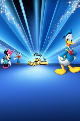 Donald Duck and Friend on Magic Blue Background For iPhone