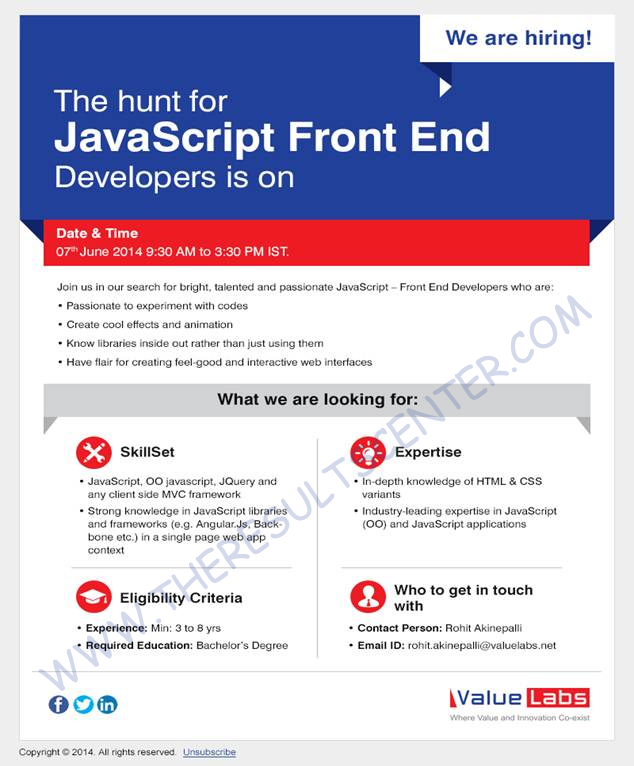 Valuelabs Hiring Experienced JavaScript Front End Developers