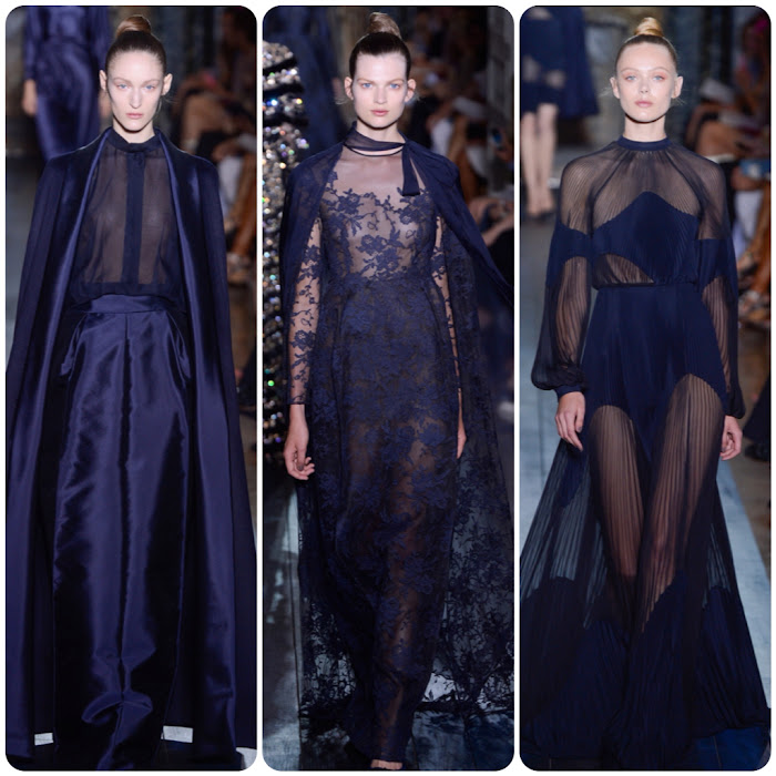 Deep Blue See Through Dresses Valentino