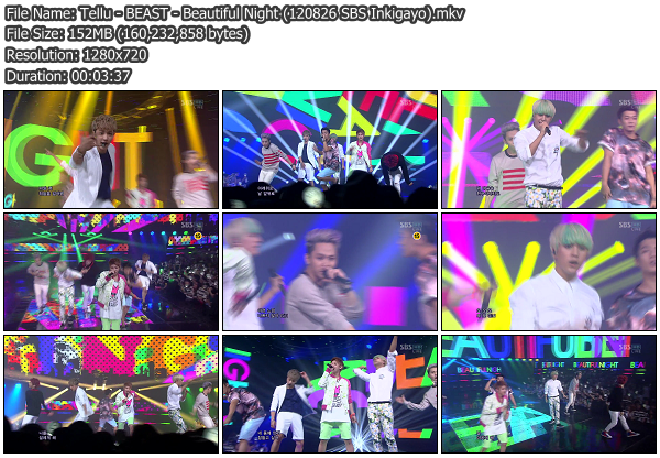 [Perf] BEAST   Beautiful Night @ SBS Inkigayo 120826