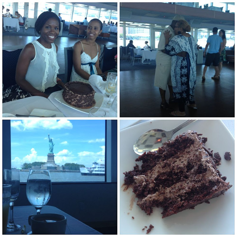 Ending the cruise with cake and view of Statue of Liberty