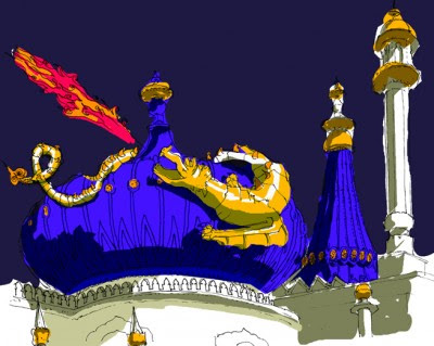 Alejandro Martinez Art: chinoiserie dragon perched on Pavilion dome