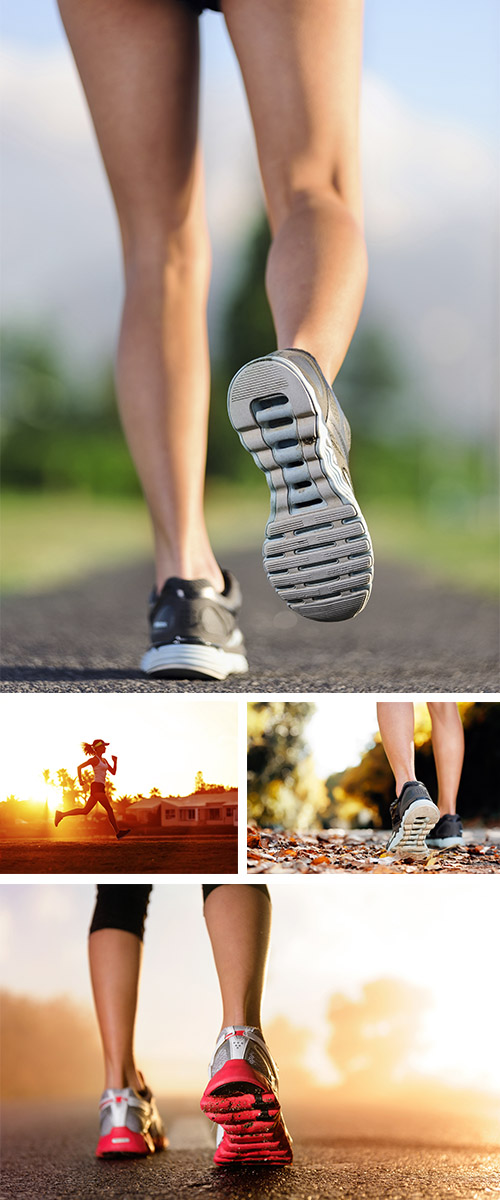 Stock Photo: Runner feet sunrise