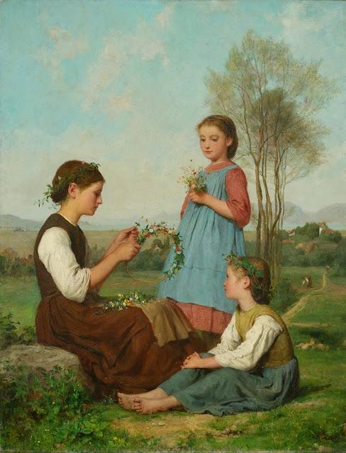 Albert Anker - Drei Mädchen beim Kränzewinden. 1868