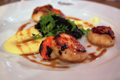 Seared scallop starter at the restaurant at the Malmaison Oxford hotel in England