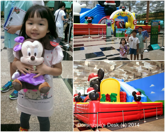 Tiger girl and her Minnie Mouse at the Mickey Mouse Clubhouse Bouncy Playground