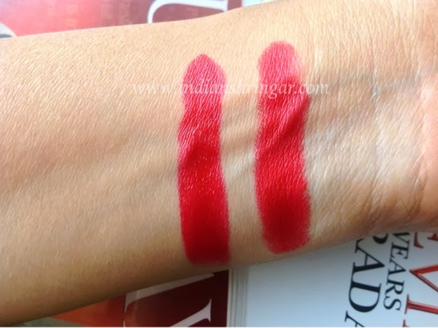 Swatches of MAC Ruby Woo and dupe MUA Bring It