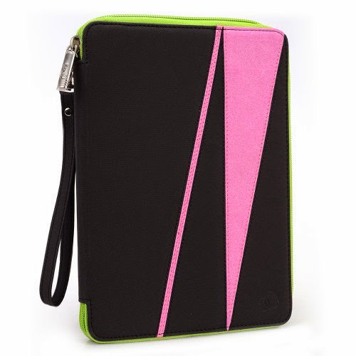 GizmoDorks Travel Folio Zipper Stand Case Cover Pouch for Asus Google Nexus 7 Tablet with Carabiner Key Chain - Pink