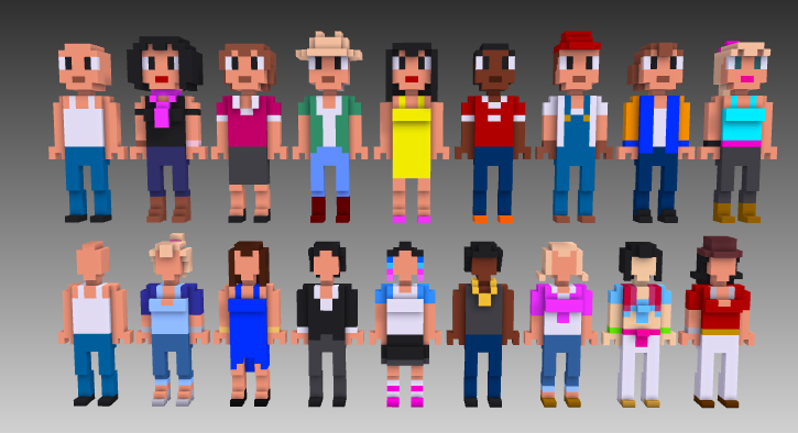 MagicaVoxel voxel people both sets