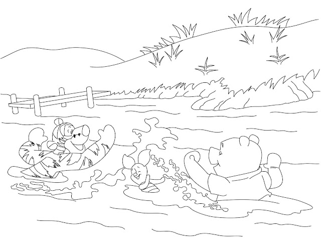Pooh, Tigger, and Piglet Swimming Coloring Page