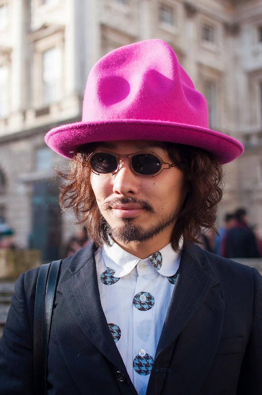 Magenta hat at London Fashion Week