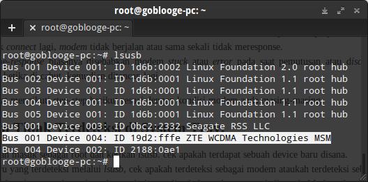 Device Modem yang terdeteksi dengan benar tampak disana Modem ZTE WCDMA dengan vendor ID 19d2 dan Product ID fffe