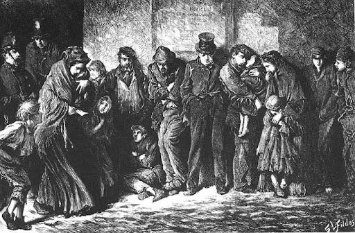Ilustraciones en las obras de Dickens - Luke Fildes, Houseless and Hungry, The Graphic