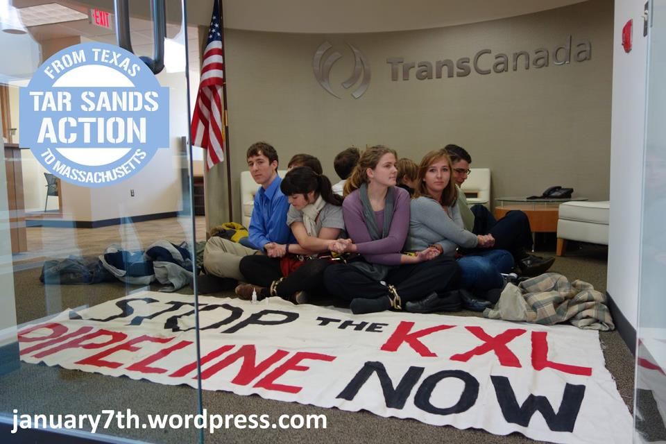 Students participate in nonviolent direct action protesting the Keystone XL pipeline