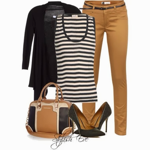 Black cardigan, black lined vest, brown pants and hand bag fashion for fall