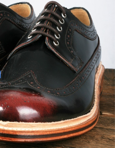 All Leather Brogue Shoes Upper Sole Mens Wingtip Black