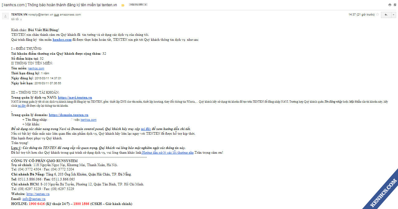 Mail thông báo thông tin domain