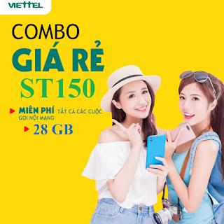 Nhận 28GB, Miễn phí gọi Nội mạng Gói ST150 Viettel