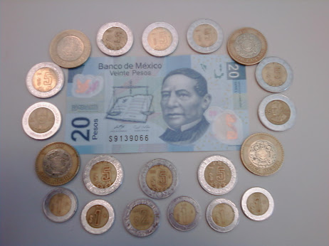 20-peso note and various coins from Mexico
