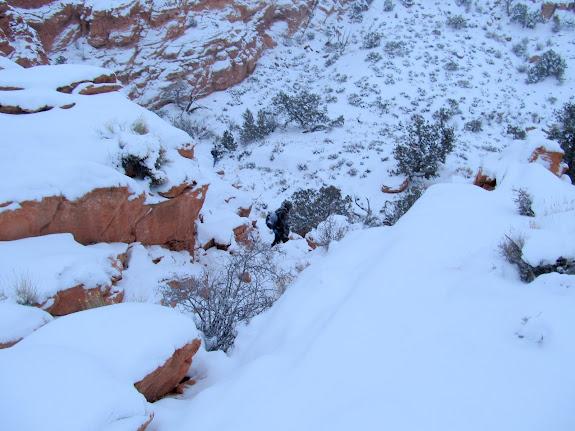 Alan descending the cliffs