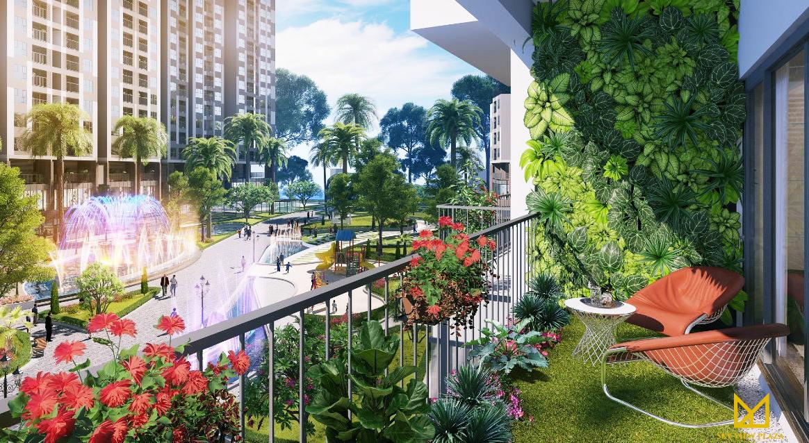 Khuân viên xanh tại dự án Sky View Plaza