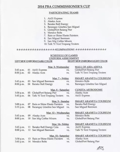 2014 PBA Commissioner's Cup Imports Games Schedule 03-06-2014-03