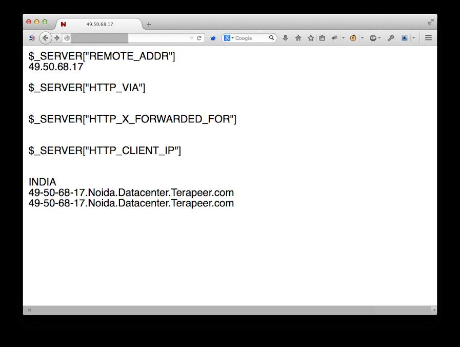 顯示目前 IP 以及相關 header