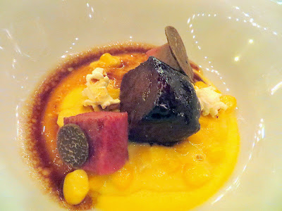 Feast 2014 Dinner, State of the Art with Adelsheim Vineyards and Willamette Valley Vineyards, Corn Pudding, Beef Tongue and Cheek, Burgandy Truffle, by Matthew Accarrino