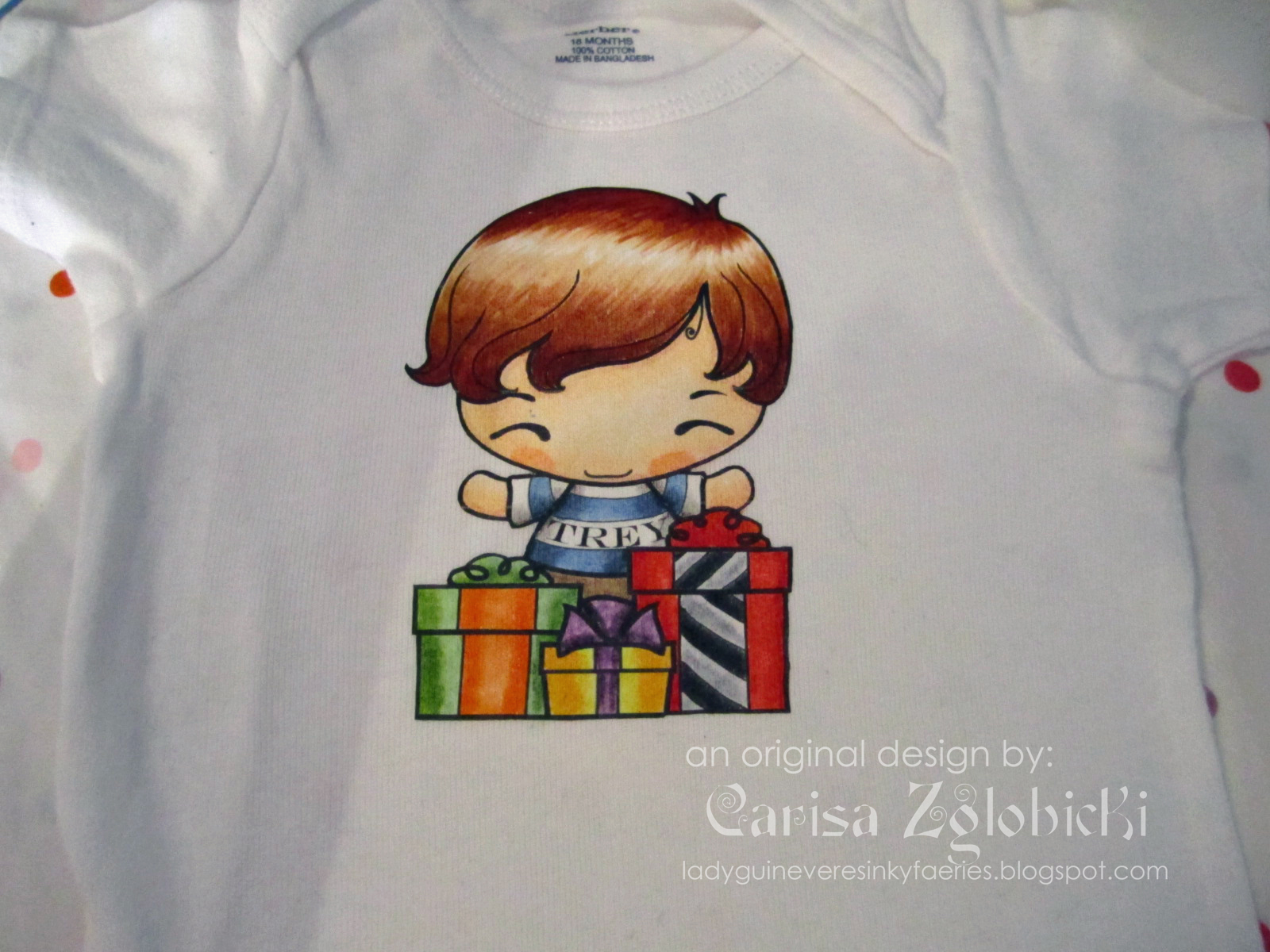 Here Is A Close Up Of The Onesie With Image All Colored In You Can Also See I Added His Name To Ians Tshirt Before Printed It On Transfer