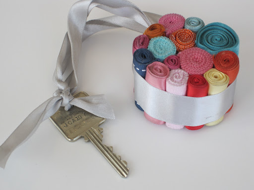 A ribbon keyring for our storage room key