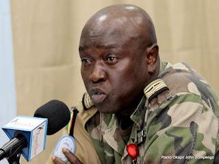 Col. Base, porte parole militaire de la Monusco. Radio Okapi/Ph. John Bompengo