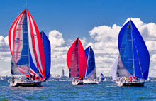 J/109s reaching under spinnaker at American YC Fall series