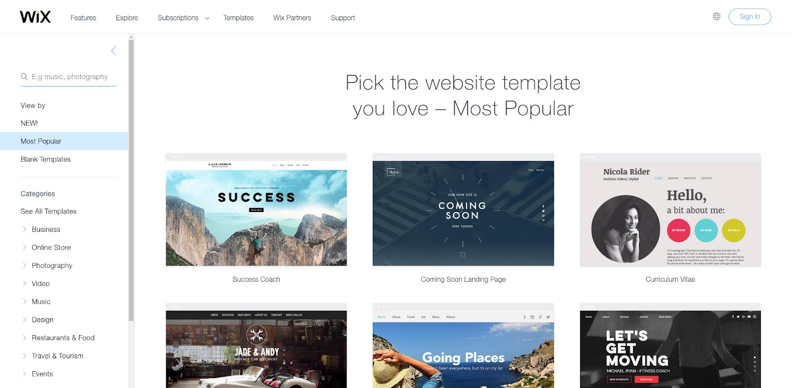 web page design wix templates