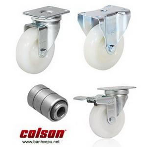 Bánh xe nhựa Nylon càng bánh xe đẩy mạ kẽm chịu lực (82~122kg)