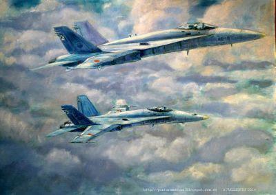 Pareja de f-18 hornet en vuelo