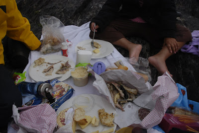 picnic on the rocks, Derrynane Beach