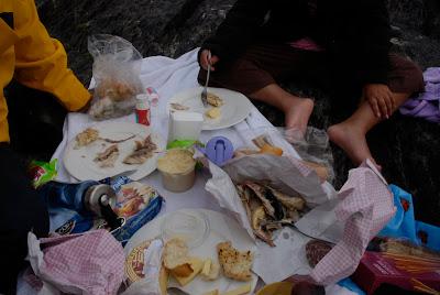 picnic on the rocks, Derrynane Beach