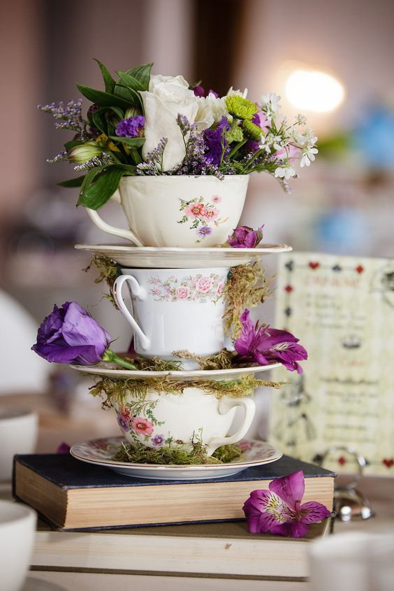 wedding teacup centerpiece