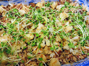 Potluck Dish: Quinoa with Roasted Cauliflower and Mushrooms