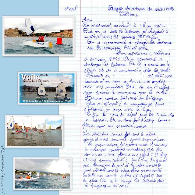 Collioure voile Optimist Régate Critérium Juin 2013